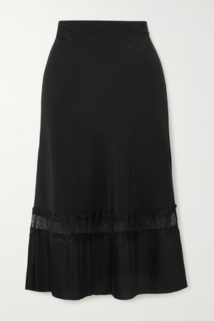 The Osiris Lace-trimmed Plisse Silk Crepe De Chine Skirt - Black