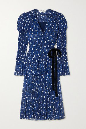 Ani Velvet-trimmed Printed Chiffon Wrap Dress - Navy