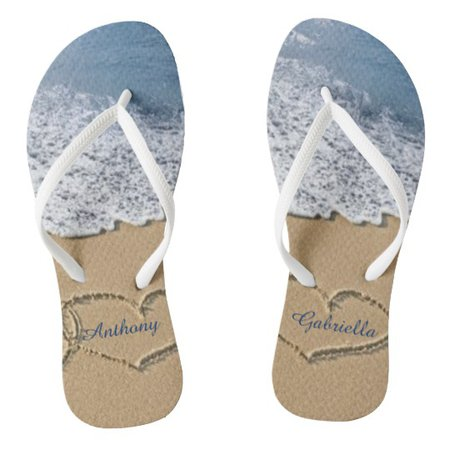 Beach With Hearts In Sand Personalized Flip Flops | Zazzle.com