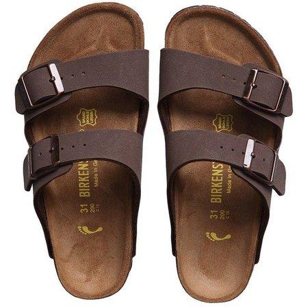 Birkenstock Brown Two-Strap Sandals (Arizona)