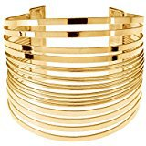 Amazon.com: QTMY Alloy Metal Gold Hollow Hoop Open Cuff Wide Bracelet Bangle (Gold2): Clothing