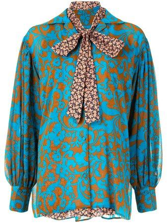 Maison Mihara Yasuhiro damask-print long-sleeved Blouse - Farfetch