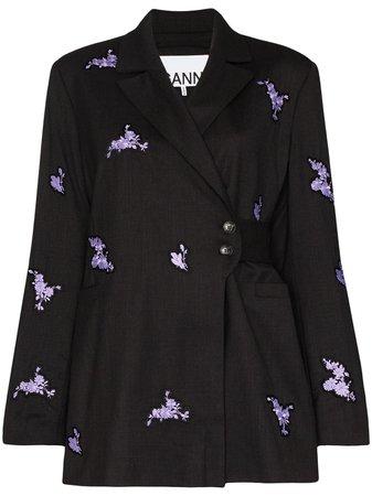 GANNI Floral Appliqué Wrap Blazer - Farfetch