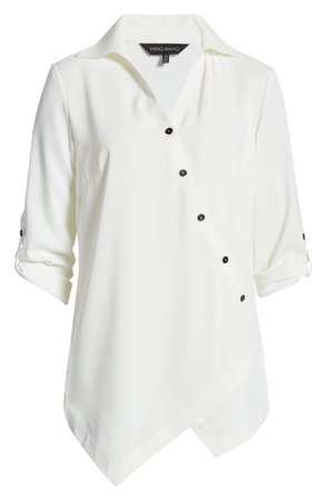 Ming Wang Asymmetrical Button Front Blouse | Nordstrom