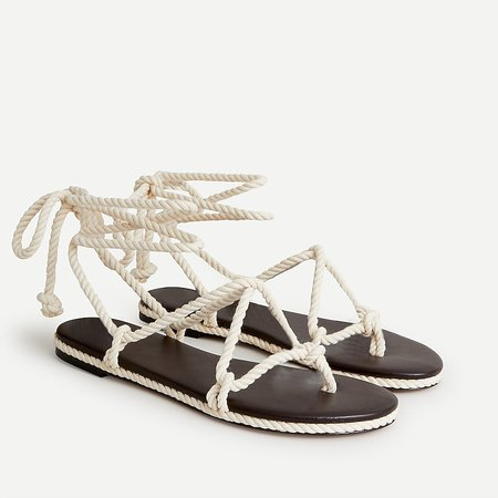 J.Crew: Rope Lace-up Flat Sandals For Women