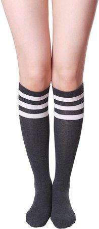 HASLRA Women's Knee High Socks 1 Pairs (Stripe Ivory) at Amazon Women's Clothing store