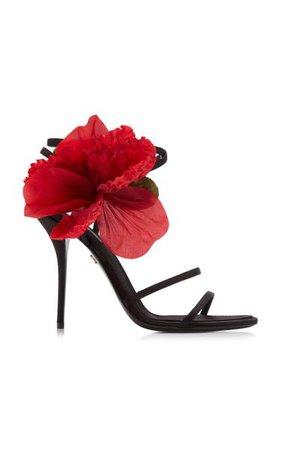 Keira Floral-Embellished Leather Sandals By Dolce & Gabbana | Moda Operandi