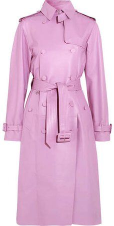 Leather Trench Coat - Pink