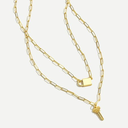 J.Crew: Lock-and-key Necklace Set For Women