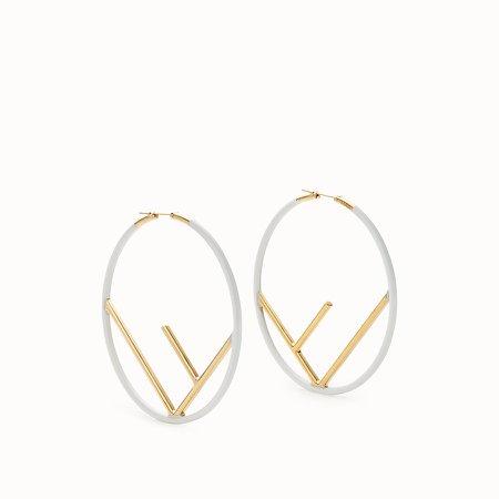 Gold and white coloured earrings - F IS FENDI EARRINGS   Fendi