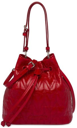 shiny quilted bucket bag