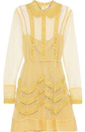 Crochet-trimmed Point D'esprit Mini Dress