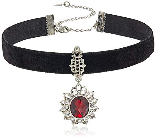 Amazon.com: 1928 Jewelry Black Velvet with Casted Red Stone and Crystal Pendant Choker Necklace: Jewelry