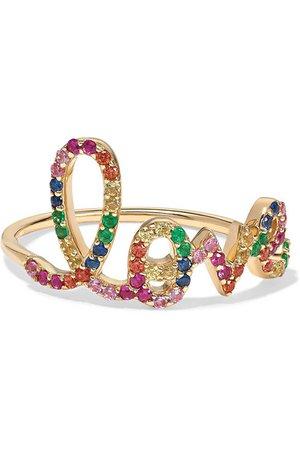 Sydney Evan | Large Love 14-karat gold multi-stone ring | NET-A-PORTER.COM