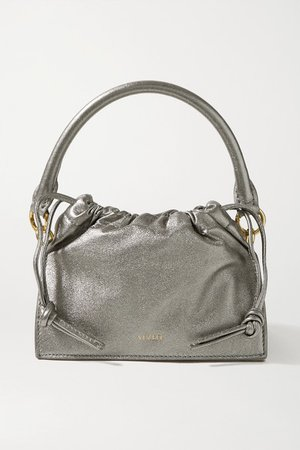 Bom Mini Metallic Leather Tote - Silver