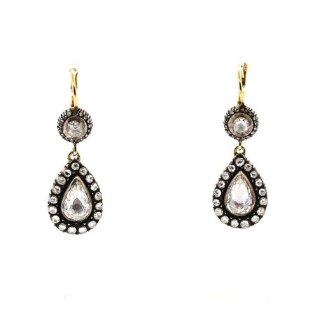 Antique Style Silver Topped Gold Rose Cut Diamond Earrings For Sale at 1stDibs