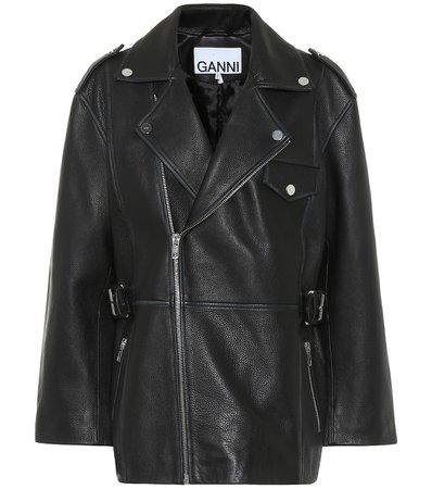 Ganni - Leather biker jacket | Mytheresa