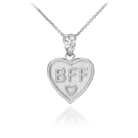 BFF Heart Pendant Necklace in 9ct White Gold | Gold Boutique