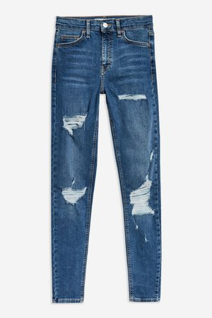 Mid Blue Super Ripped Jamie Jeans   Topshop