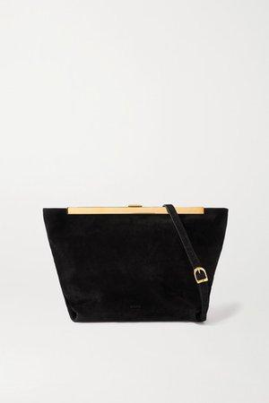 Augusta Envelope Pleat Suede Shoulder Bag - Black