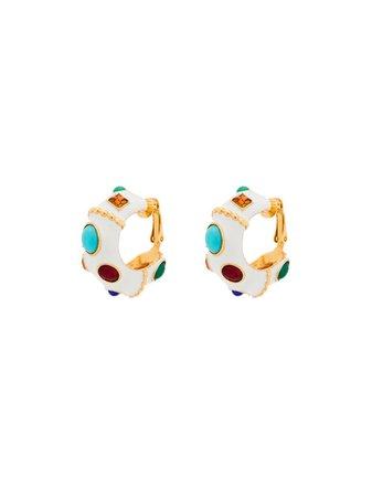 Kenneth Jay Lane Gemstone Hoop Clip Earrings - Farfetch