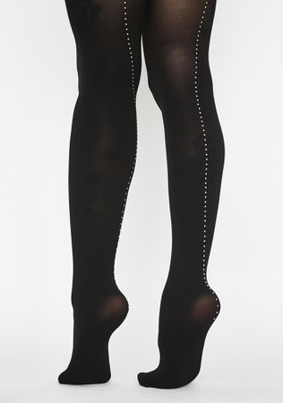 MeMoi Rhinestone Backseam Opaque Tights | Dolls Kill