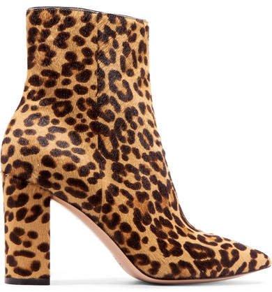 85 Leopard-print Calf Hair Ankle Boots - Leopard print
