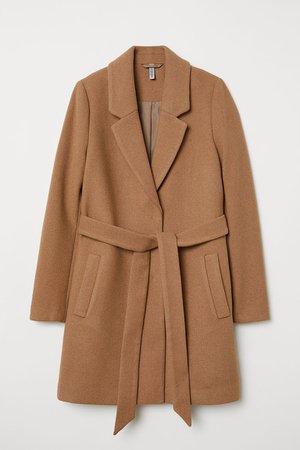 Coat with Tie Belt - Dark beige -   H&M CA