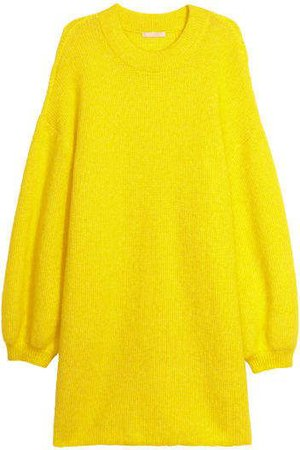 H&M Oversized Mohair-blend Sweater - Yellow