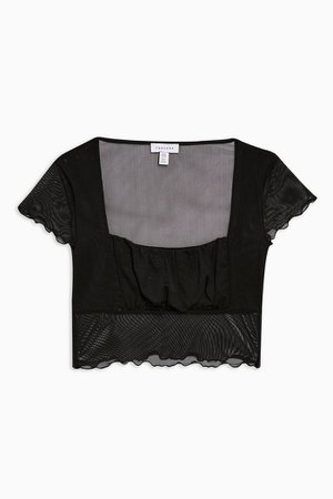 Black Ruched Mesh Top | Topshop