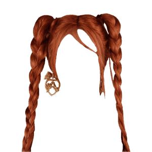 Twin Braids Red Auburn Hair Orange PNG