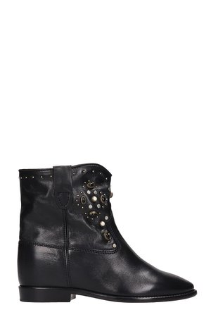 Isabel Marant Cluster Ankle Boots In Black Leather