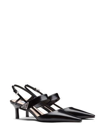 Shop black Prada patent leather slingbacks with Express Delivery - Farfetch