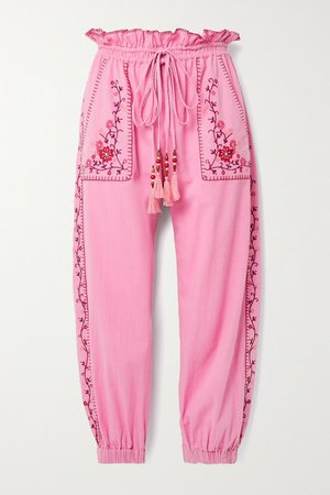 Saunders Embroidered Cotton-voile Track Pants - Pink
