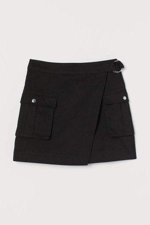 Wrapover Twill Skirt - Black