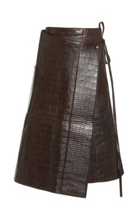 Apron Croc-Effect Leather Midi Wrap Skirt By Peter Do | Moda Operandi