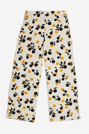 Fruit Print Crop Wide Leg Trousers | Topshop White