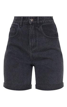 black denim mom shorts