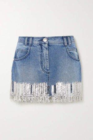 Fringed Sequined Denim Mini Skirt - Blue