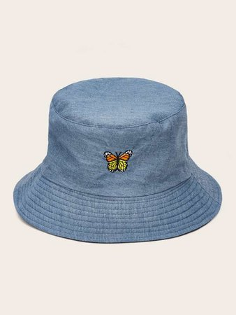 Butterfly Embroidery Bucket Hat | SHEIN USA