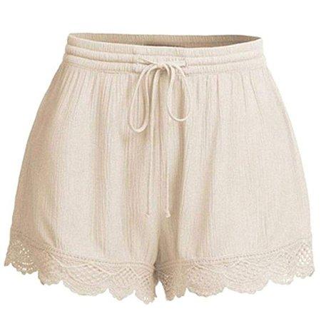 Là Vestmon Summer Casual Shorts, Women Lace Beach Hot Shorts Basic Elastic Drawstring Waist Pants at Amazon Women's Clothing store: