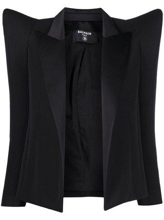 Shop black Balmain exaggerated-shoulder blazer jacket with Express Delivery - Farfetch