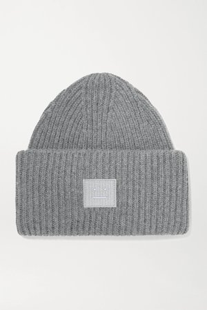 Dark gray Pansy Face appliquéd ribbed wool beanie | Acne Studios | NET-A-PORTER