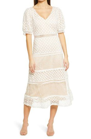 Lulus Dance with Joy Lace Puff Sleeve Midi Dress | Nordstrom