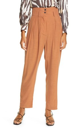 High Waist Pleated Tapered Pants