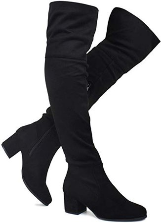 Amazon.com | Premier Standard - Women's Over The Knee Stretch Boot - Trendy Low Block Heel Shoe - Sexy Over The Knee Pullon Boot, TPS2019100132 Black Su Size 8.5 | Over-the-Knee