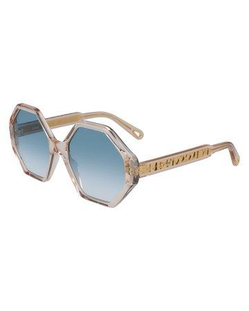Chloe Hexagonal Acetate Sunglasses | Neiman Marcus