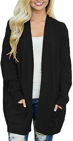 Dokotoo Womens Fashion Open Front Long Sleeve Cardigans Sweaters Coats with Pockets at Amazon Women's Clothing store