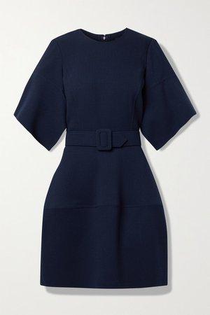 Belted Wool-blend Gauze Mini Dress - Navy