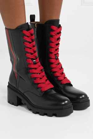 Black Trip striped glossed-leather ankle boots | Gucci | NET-A-PORTER